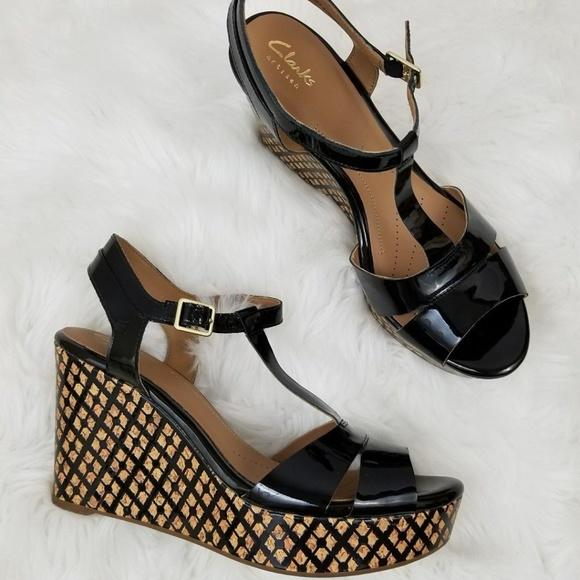 29f5f3666d6 Clarks Amelia Roma Wedge Sandal Black Size 9.5 M